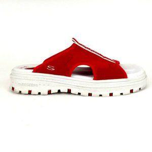 SKECHERS Women's G-TECH Platform  Red Sandals 8
